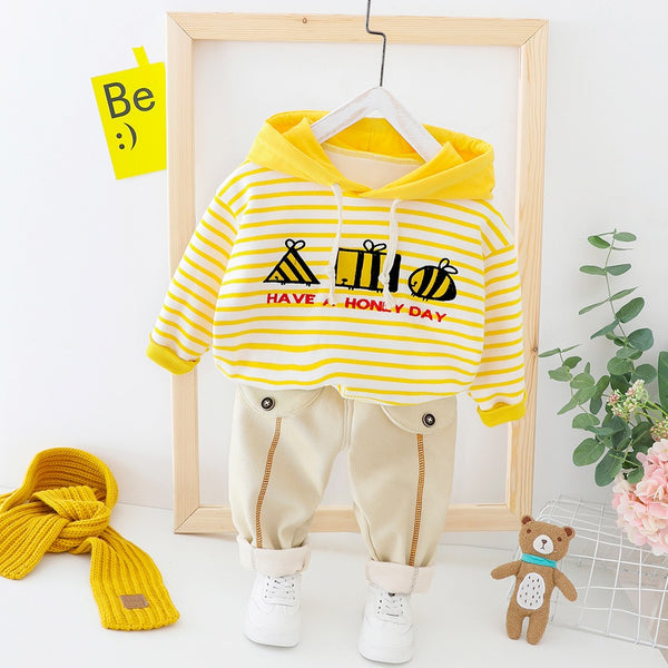 Striped Sweatshirt Winter Set