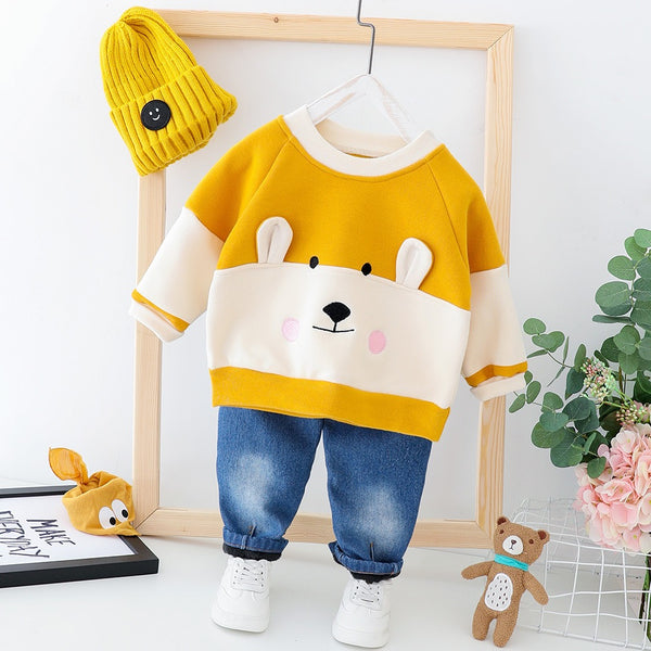 Bear Made Sweatshirt And Denim Winter Set
