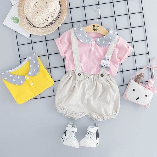 Polka Dot Collar Polo Tshirt And Shorts Set