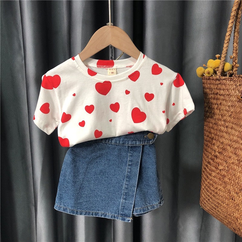Heart Printed Top and denim shorts set