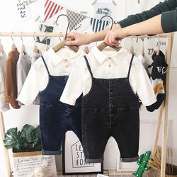 Buttoned Dungaree And Tshirt Set