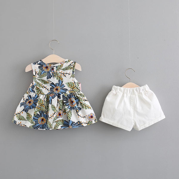 Floral Printed Bow Knot Summer Set