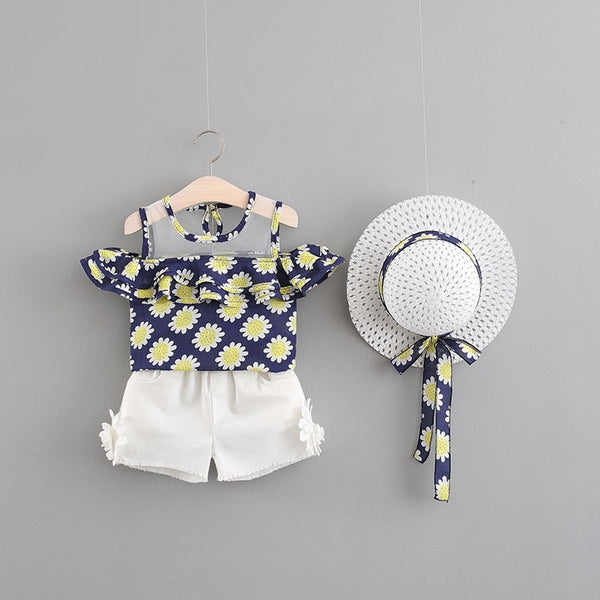 Sunflower Printed Summer Set With Hat