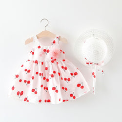 Berry Printed Summer Dress With Hat
