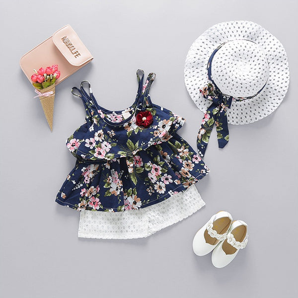 Blue Floral Printed Summer Set With Hat