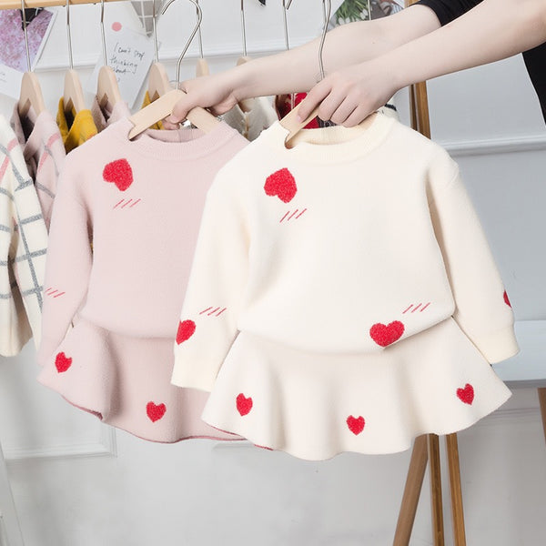 Heart Printed Sweatshirt And Skirt Winter Set
