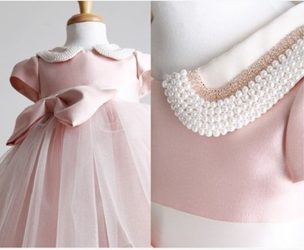 Pink Beaded Neck Party Dress