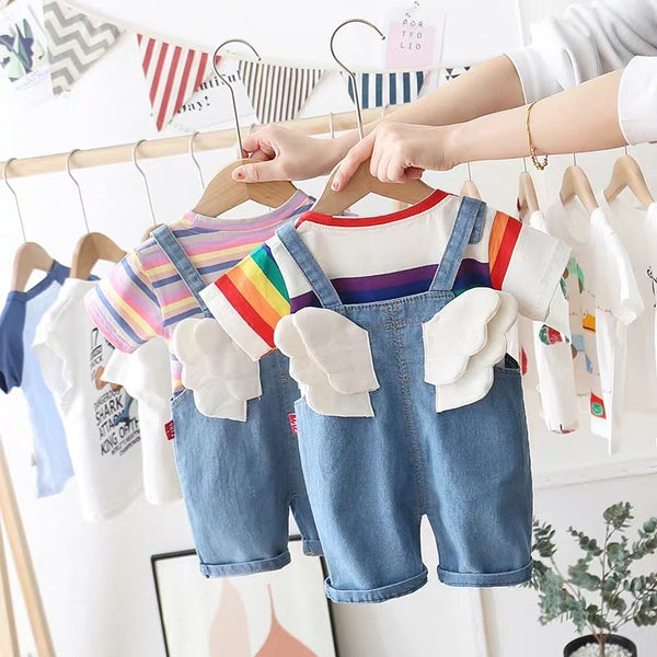 Striped Tshirt And wing dungaree set