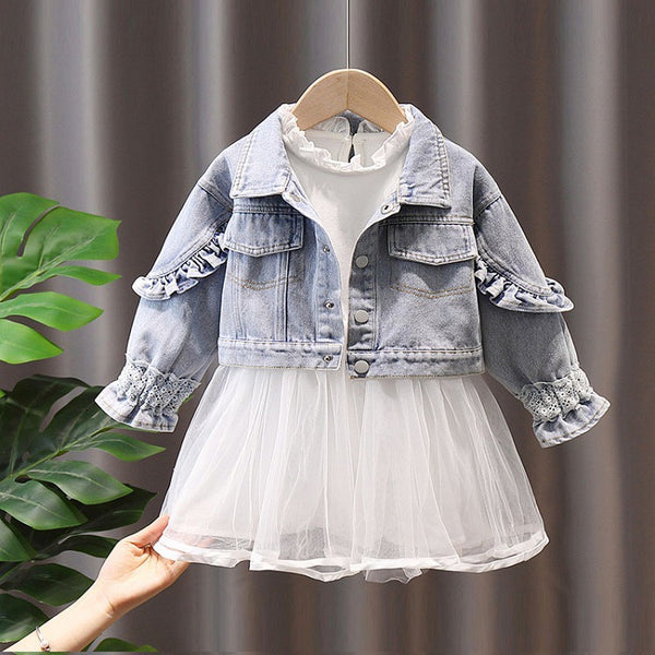 Ruffled Collar Net Dress With Denim Jacket