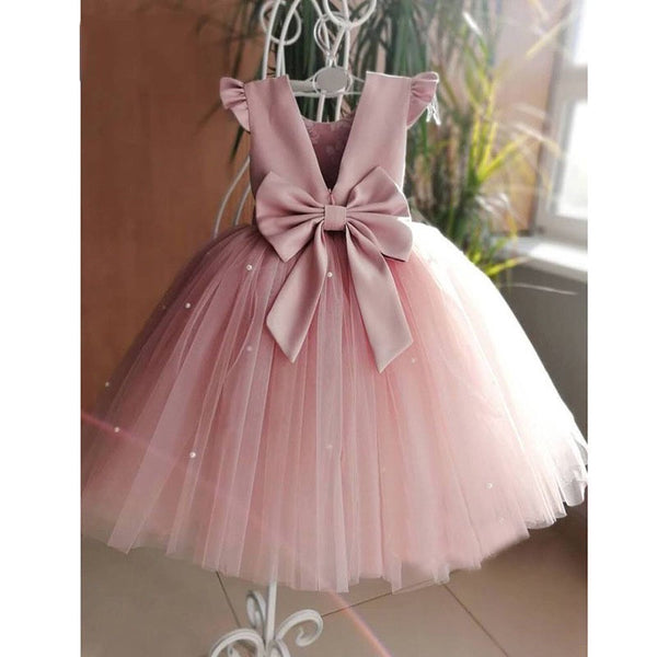 Pink Bow Cap Sleeves Party Dress