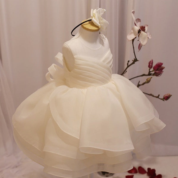 White Bow Layered Party Dress