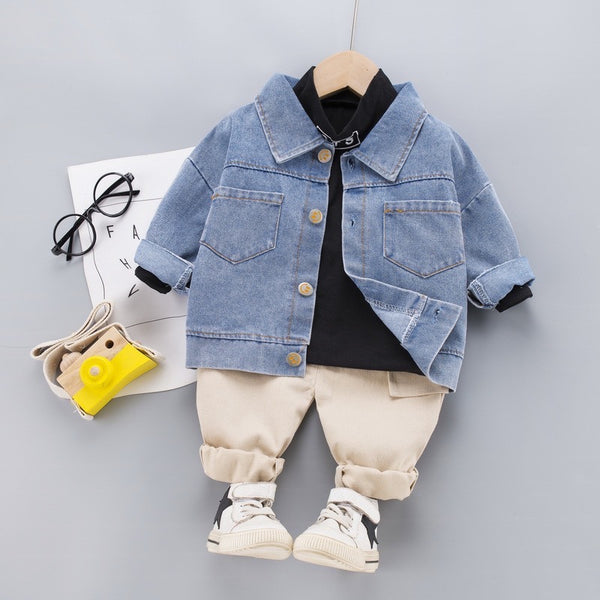 Denim Overshirt With Tshirt And Cargo Set