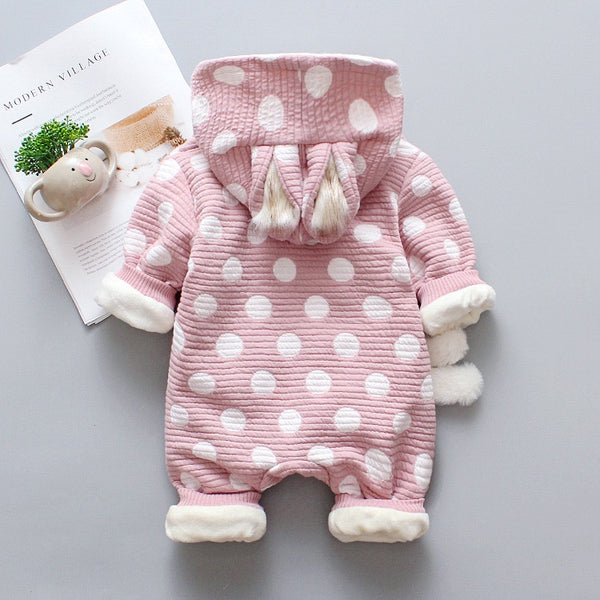 Polka Dotted Rabbit Made Winter Jumpsuit