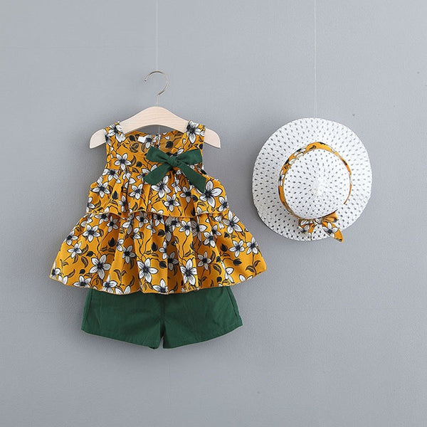 Flower Printed Summer Set With Hat