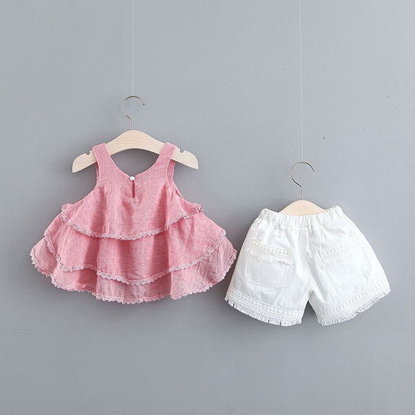 Pink Frill Top And White Shorts Set