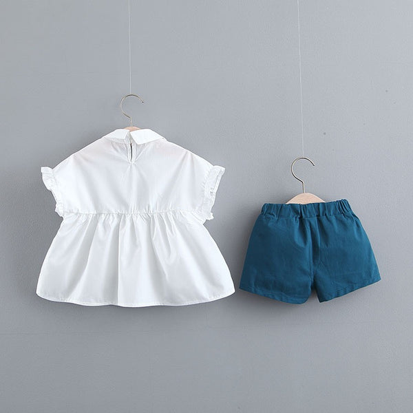 White Top And Blue Shorts Set