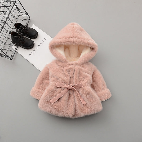 Long Hooded Bow Knot Winter Jacket