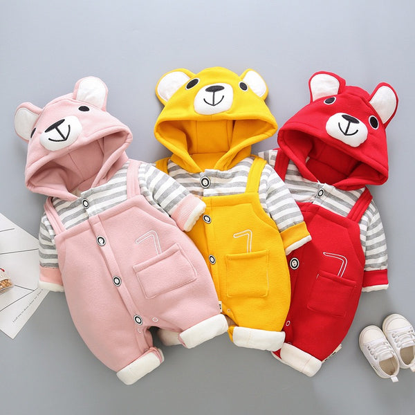 Bear Hooded Pocket Winter Jumpsuit