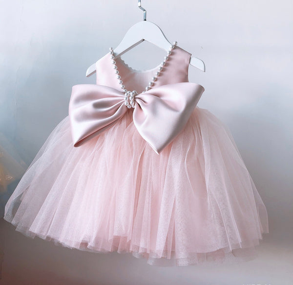 Beaded Neck Bow Party Dress
