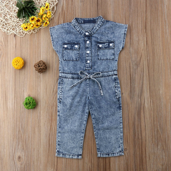 Front Buttoned Bow Know Denim Jumpsuit