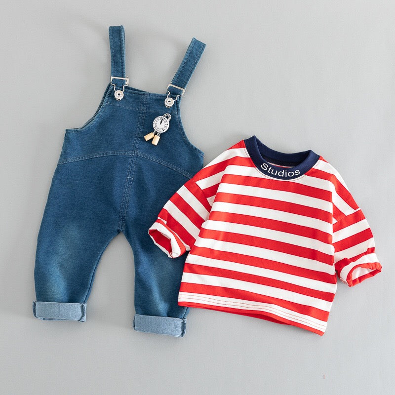 Striped Tshirt Plus Denim Dungaree Set