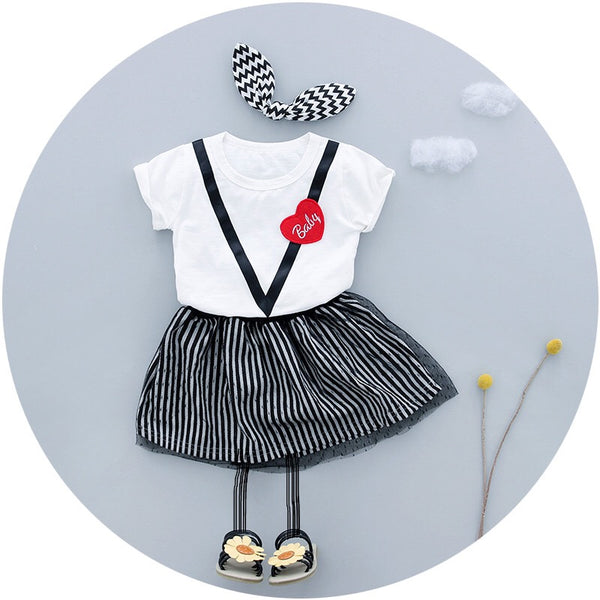 Baby Heart Top Plus Striped Skirt Set
