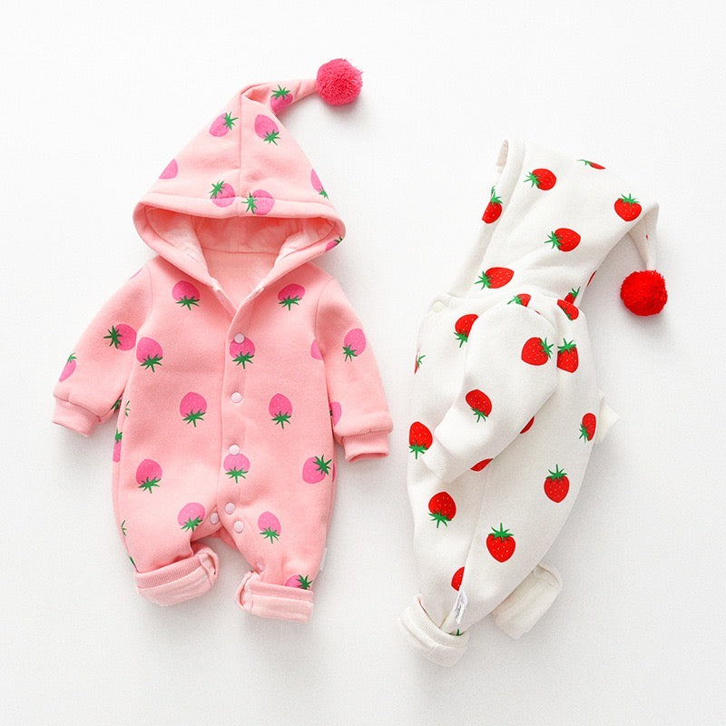 Strawberry Printed Winter Jumpsuit