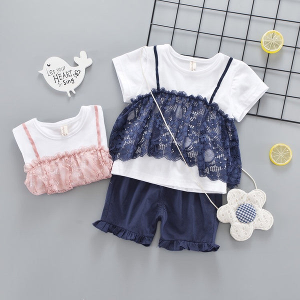 Lace Top Plus Shorts Set