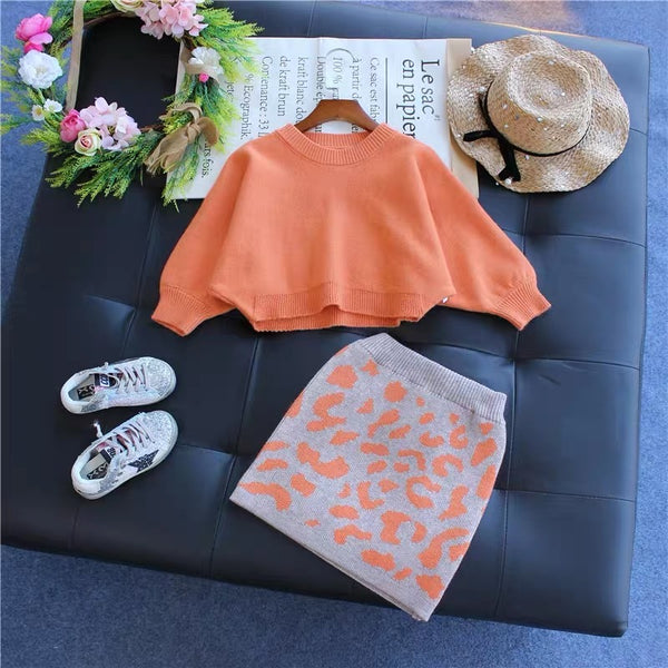 Orange Sweater And Grey Leopard Skirt Set