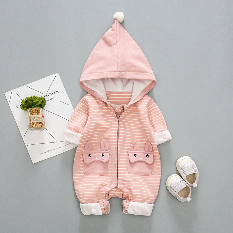 Rabbit Pocket Striped Winter Jumpsuit