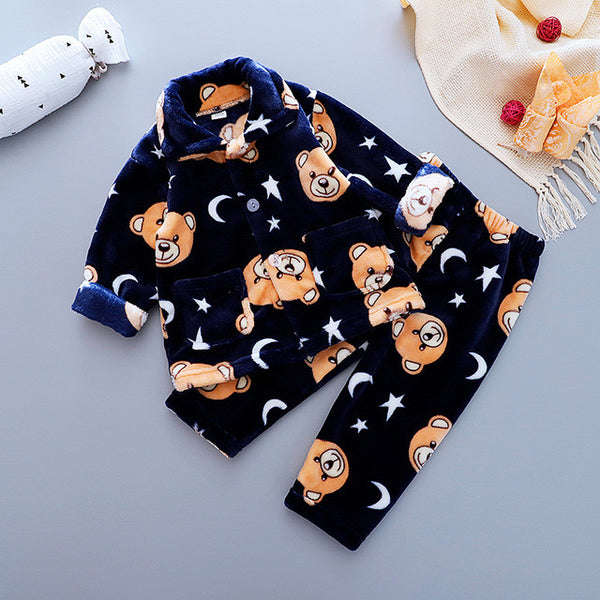 Navy Blue Bear Printed Winter Night Suit