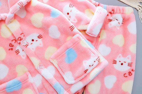 Cat Printed Winter Night Suit