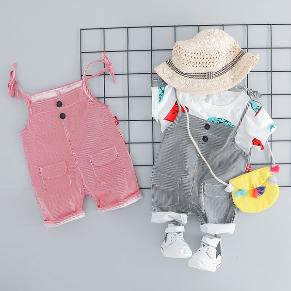 Pin Striped Dungaree Summer Set