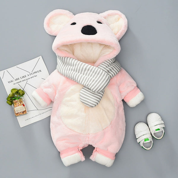 Bear Hooded Scarf Style Winter Jumpsuit