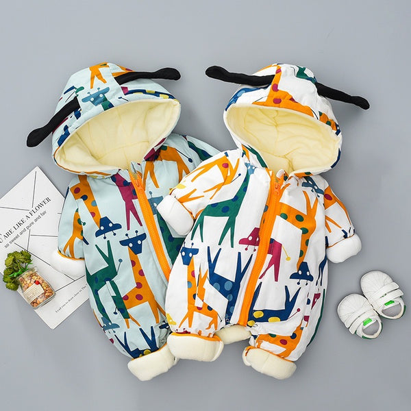 Deer Printed Hooded Winter Jumpsuit