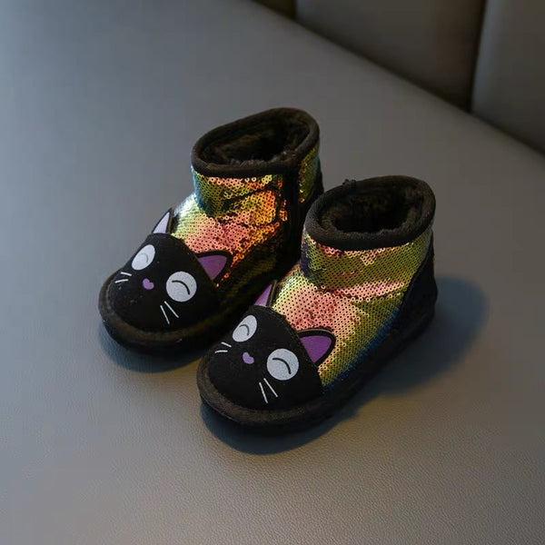 Cat Made Glittery Winter Boots