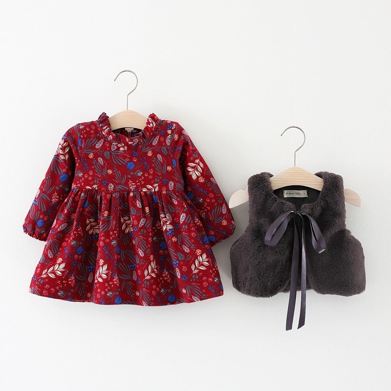 Long Sleeves Floral Dress With Vest
