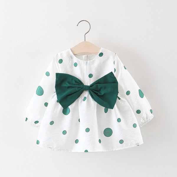 Polka Dot Bow Cotton Dress