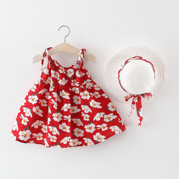 Flower Printed Summer Dress With Hat