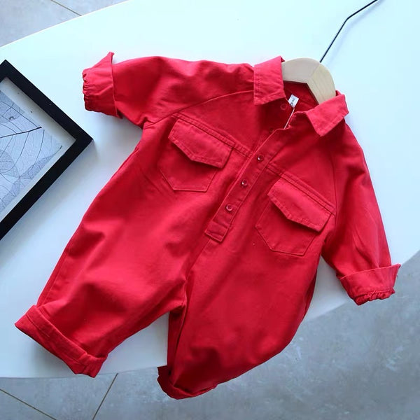 Red Denim Jumpsuit