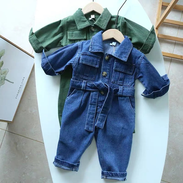 Double Pocket Belted Denim Jumpsuit