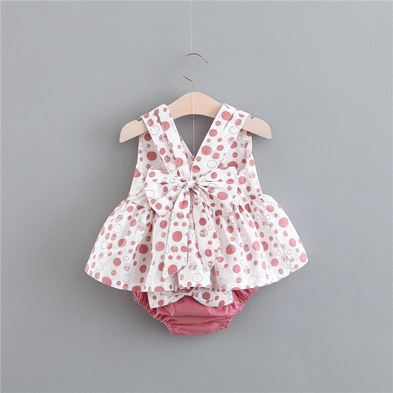 Bow Polka Dot Bloomer Set