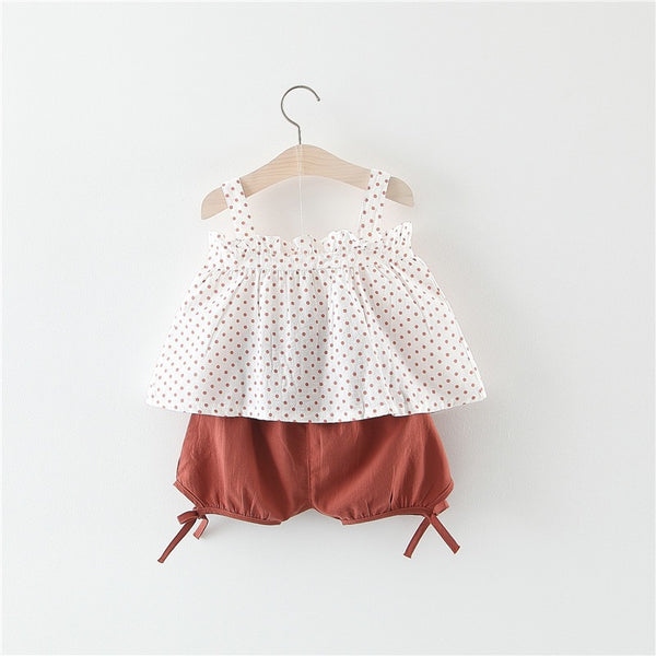 Polka Dots Top And Shorts Summer Set