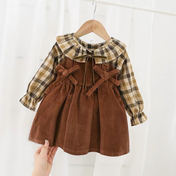 Checkered Top And Corduroy Dress