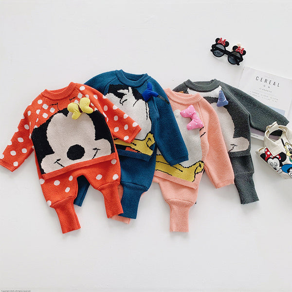 Cartoon Made Sweatshirt And Balloon Pant Winter Set
