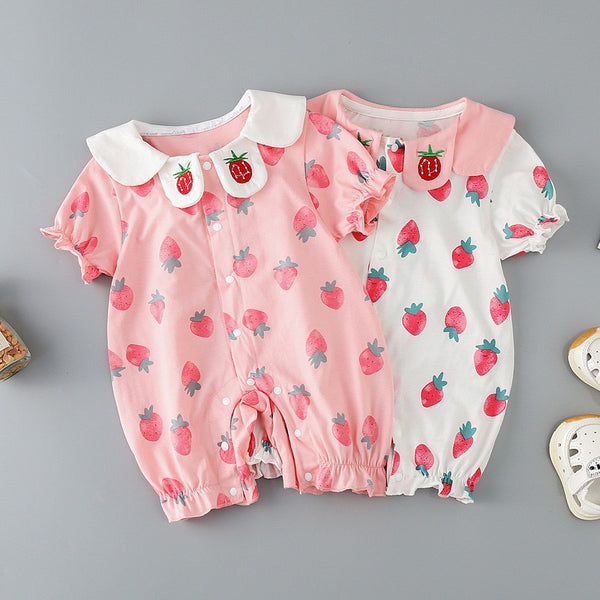 Peter Pan Collar Strawberry Romper