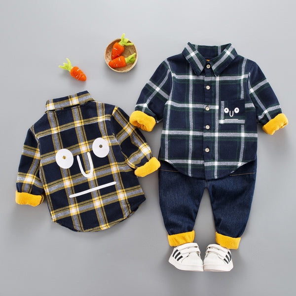 Checkered Shirt And Denim Winter Set