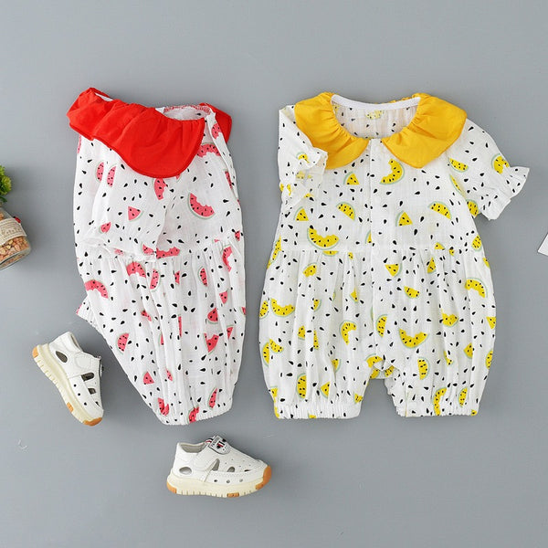 Watermelon Printed Doll Collar Summer Jumpsuit