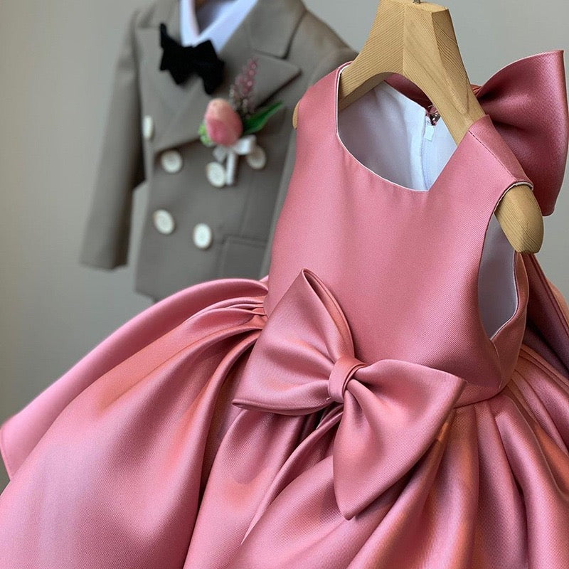 Fine Satin Pink Big Bow Party Dress