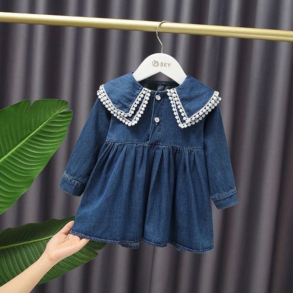 Lace Collar Denim Dress